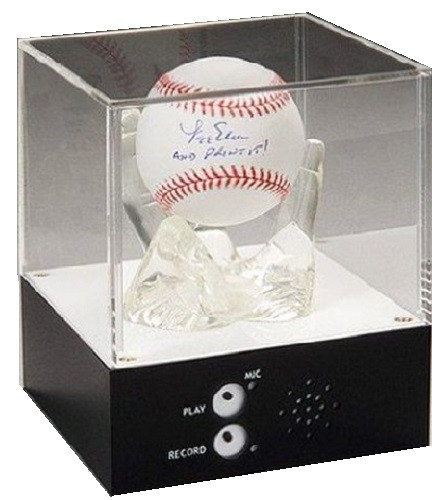 Complement any collectible baseball on display with a personal recording that can be heard over and over again.
