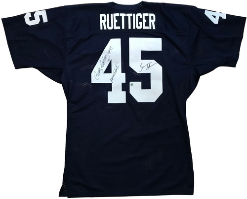 "Navy blue mesh jersey (size XL) with SEWN ON #45 numbers on the front, sleeves and back of the jersey with the name ""RUETTIGER"" sewn on the back."