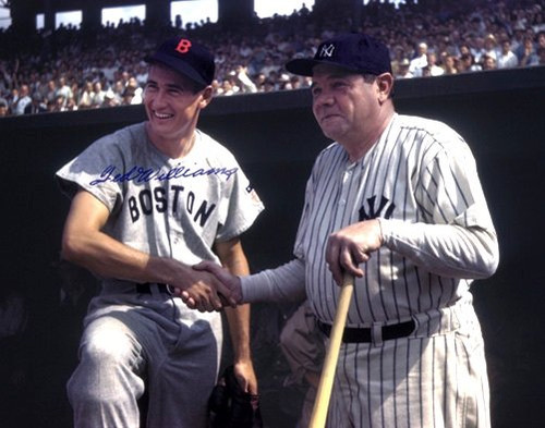 "The only ""in uniform"" photograph of these two immortals taken on July 13, 1943 at Fenway Park."