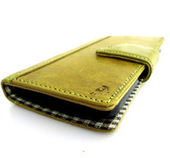genuine real leather Case for HTC Butterfly S book wallet handmade apple green r