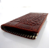 genuine real leather Case for HTC ONE book wallet handmade m7 crocodile disign