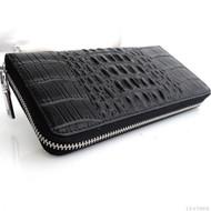 genuine Wallet Leather Purse Clutch Long New Handbag Bag S Lady Bowknot Card Womens Fashion Button Zip Case Bifold black crocodile