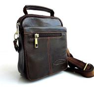 Genuine real natural Leather Shoulder Belt Bag Messenger small man woman Ta
