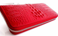 Genuine real leather woman purse wallet zipper Coins bag crocodile digzine clutch red wine