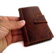 Genuine real leathe Case for HTC ONE book wallet handmade m7 skin magnet brown H