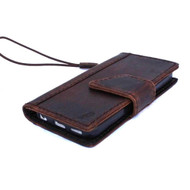 genuine full leather case for iphone SE 5 5s book wallet magnet closure cover credit cards slots classic brown slim daviscase