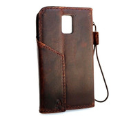 genuine italian leather case for samsung galaxy s5 book wallet magnet cover brown slim cards slots daviscase