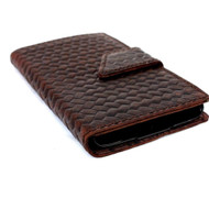 genuine italian leather case for samsung galaxy s5 book wallet magnet closure cover luxury design cards slots brown thin business daviscase