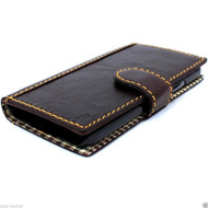 genuine italian leather case for samsung galaxy s5 book wallet hard cover luxury magnet dark brown slim business cards slots daviscase