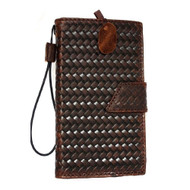 genuine Leather Case for Samsung Galaxy Note Edge book Wallet magnet closure cover luxury cards slots brown slim au free shipping daviscase