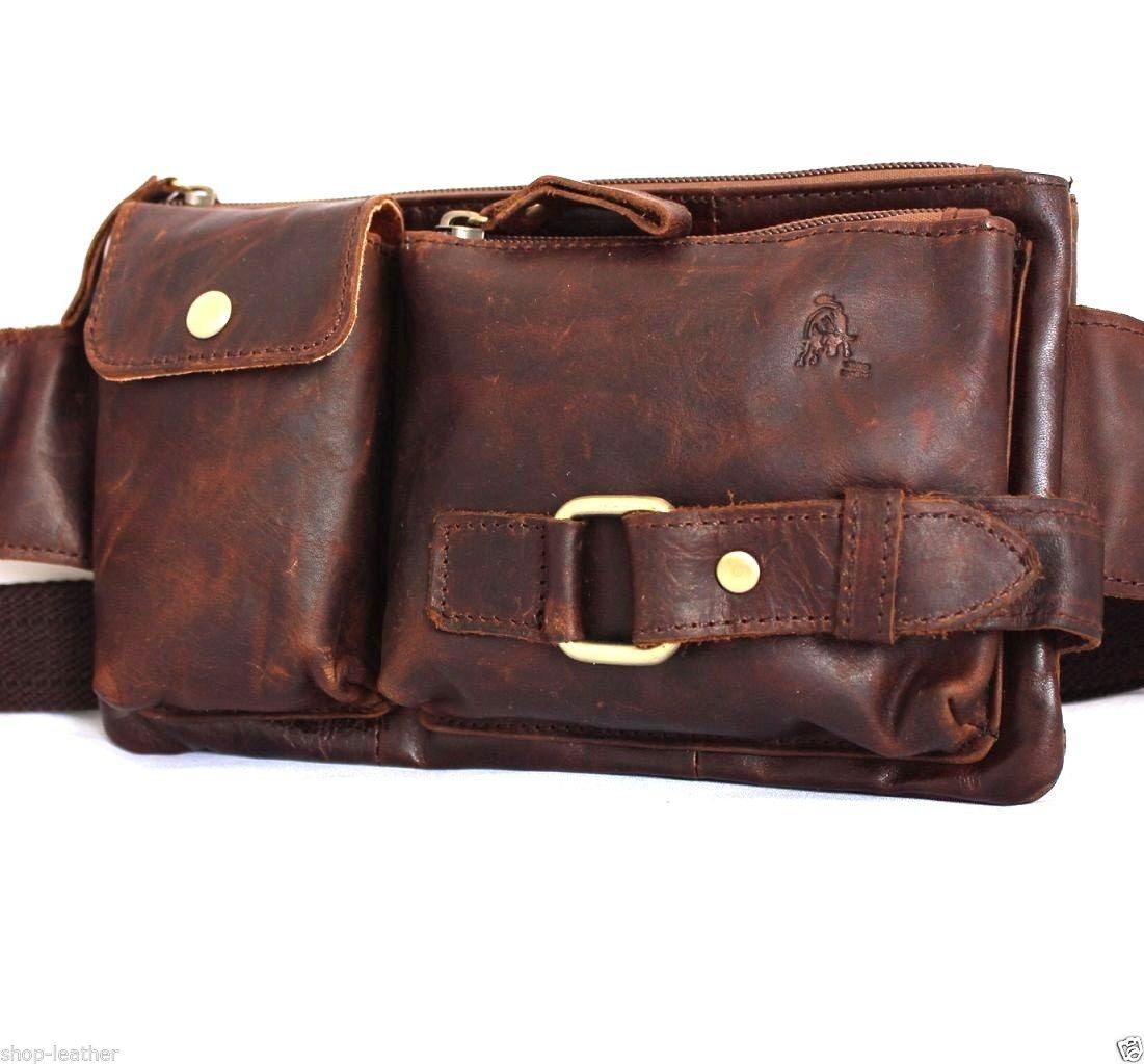 e2c97af0a ... Genuine oiled italian Leather wallet Bag Pocket Waist Pouch Crazy Horse  Fanny Crossbody. Image 1