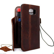 genuine full leather Case for Samsung Galaxy S6 book wallet luxury cover thin brown