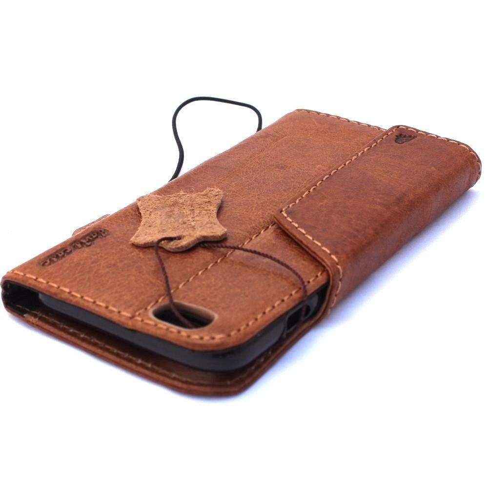 reputable site 36d08 c12a9 genuine vintage leather case for iphone 6s plus cover book wallet credit  card id magnet business slim IL
