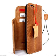 genuine vintage leather case for iphone 6s \ 6 cover book wallet credit card id magnet business slim uk