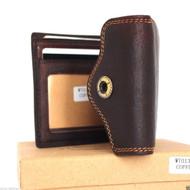 Genuine vintage Leather men's vintage wallet Bifold Card Holder luxury multi cards coin Removable id