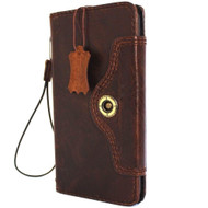 genuine Leather case for Motorola Nexus 6 book Wallet closure cover Retro style cards slots brown daviscase