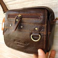 Genuine real 100% Leather Shoulder Belt Bag Messenger small man woman de