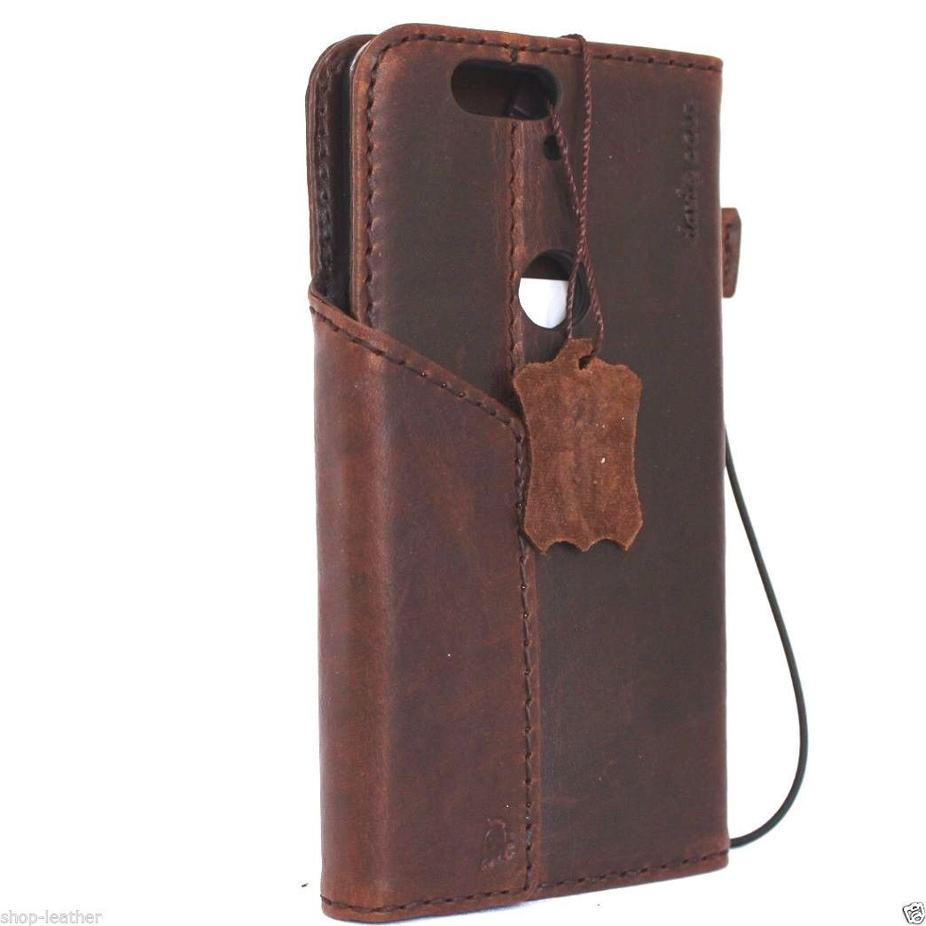 super popular 5cc33 bdbcb genuine vintage leather Case for Huawei Nexus 6P book wallet luxury magnet  cover cards slots brown daviscase