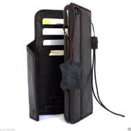 genuine real leather case for iphone 6 plus cover book wallet band credit card id magnet business slim luxury  black