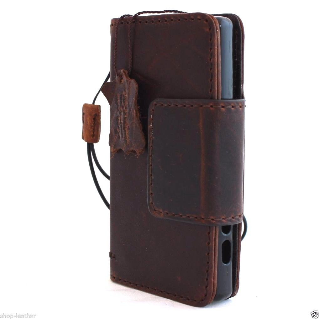 new product 0a55d 98e54 genuine vintage italian leather Case for sony Xperia Z5 Compact book wallet  5 z hand made IL
