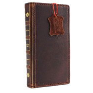 genuine full leather Case for Samsung Galaxy S5 active s 5 SM-G870A book wallet bible cover slim cards slots brown handmade daviscase