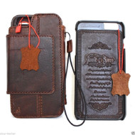 Genuine vintage leather case for iphone 6s plus cover book wallet credit card id Removable magnet Art