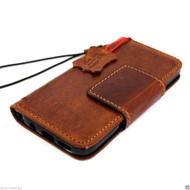 Genuine Vintage leather Case for Samsung Galaxy S7 Edge book wallet luxury magnet closure cover 7 light brown cards slots daviscase