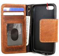 genuine full leather case for iphone SE 5 5s 5c book wallet magnet closure cover credit cards slots bright brown slim daviscase
