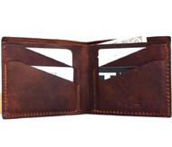 Genuine Leather mens wallet vintage brown handmade Card Holder slim small Thin Retro classic daviscase