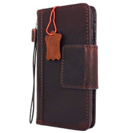 Genuine Italian oiled  leather slim case for iPhone 7 cover book wallet credit card  luxury flip slim magnetic RFID Pay