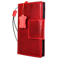Genuine Italian real  leather slim case for iPhone  8 cover book wallet Red wine credit card  luxury  flip slim magnetic RFID Pay 3d