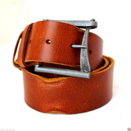 Genuine vintage Leather belt 43 mm Waist handmade classic retro bright brown size M