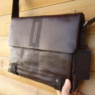 Genuine Leather Bag Messenger laptop Business Design brown handbag 14 15 tote ma