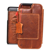 Genuine vintage leather case for iPhone 7 PLUS book wallet magnet closure cover credit cards id slots Detachable Removable magnet Art  bright brown daviscase