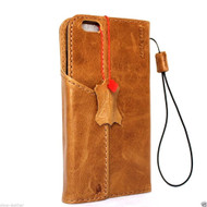 Genuine vintage leather case for iPhone 7 cover book wallet credit card id magnet business slim uk