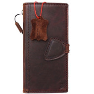 Genuine vintage natural leather Case for Google Pixel book wallet luxury magnet cover thin magnetic closure dark brown cards slots slim daviscase