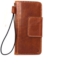 Genuine vintage natural leather Case for Google Pixel book wallet mgnet closure luxury cover cards slots slim bright brown DavisCase