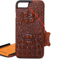 vintage genuine real leather Case for apple iphone 7 hard cover crocodile Design retro style brown