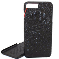 Genuine vintage leather case for iphone 7 plus  8+ crocodile design hard cover luxury black slim RFID Pay PREMIUM daviscase