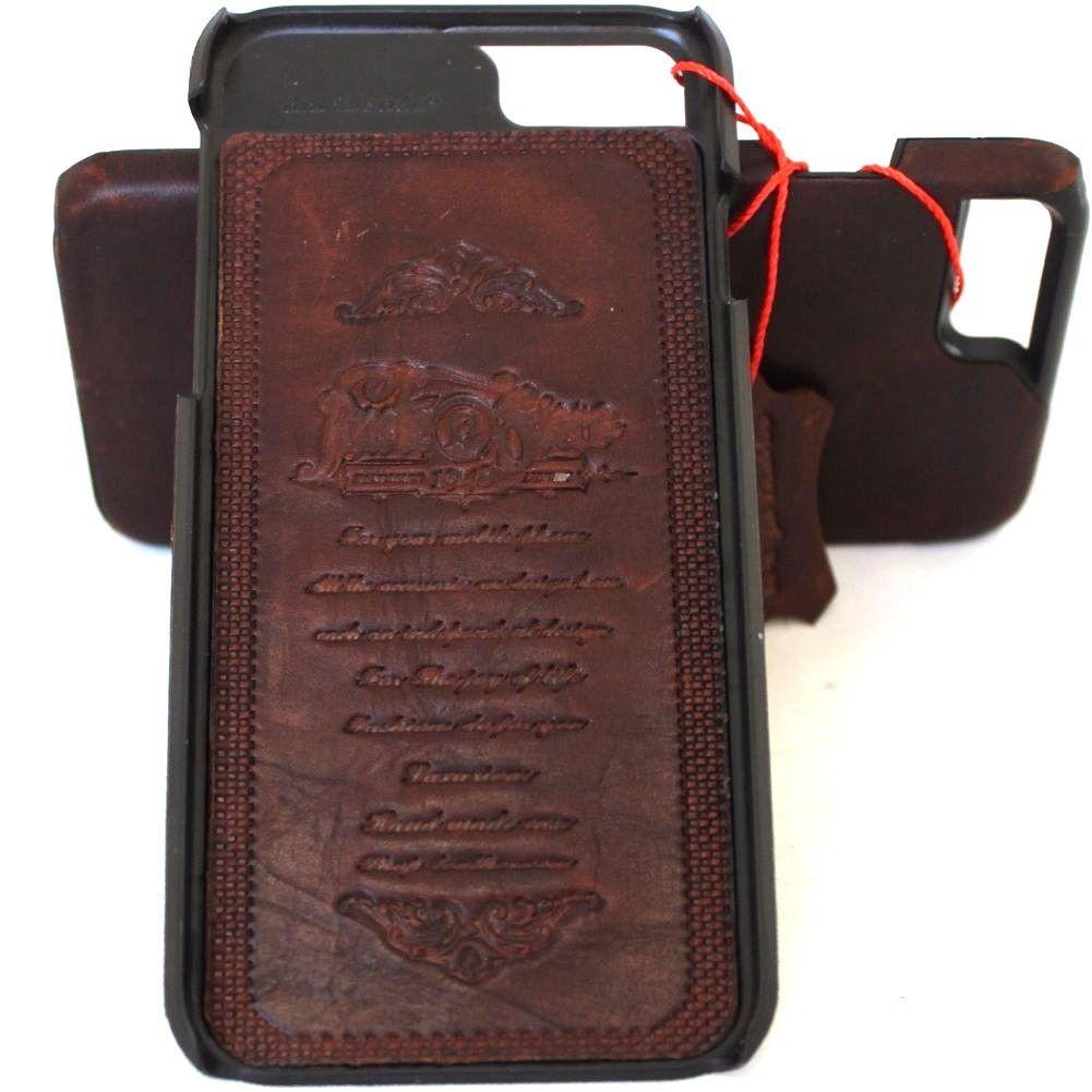 more photos 5d54d 8b4b4 Genuine real leather Case for apple iphone 7 plus hard cover slim Design  Retro vintage dark brown thin daviscase