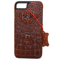 vintage genuine real leather Case for apple iphone 6 6s hard cover crocodile Design retro style brown