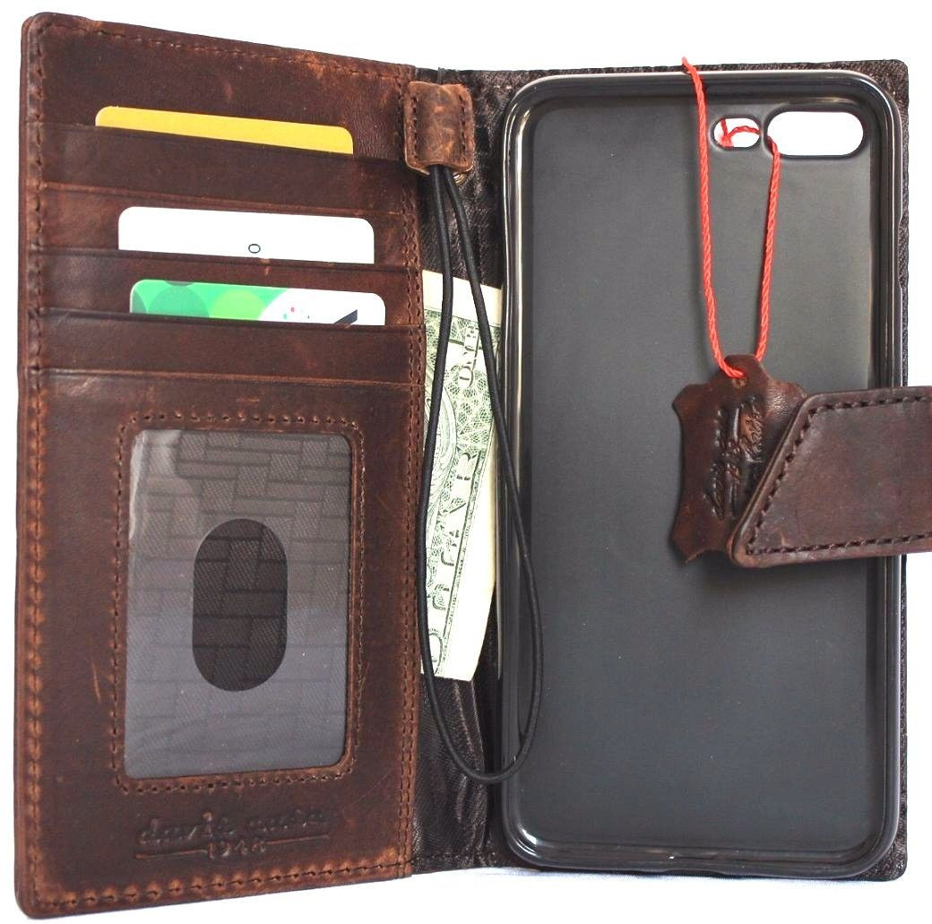 genuine real leather Case for apple iphone 7 plus book wallet slim cover Closure sds
