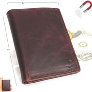 Men's Genuine Leather mini Wallet maximum slim Cards coins zipper magnetic brown thin daviscase