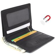 Men's Genuine Leather mini Wallet slim Cards Slots coins zipper magnetic brown thin daviscase