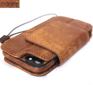 Genuine leather Case for iPhone 7 8 book wallet magnet closure cover Removable magnetic handmade vintage brown cards slots Daviscase