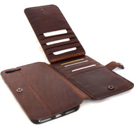genuine vintage leather Case for apple iphone 7  book wallet closure cover 10 credit cards slots brown Daviscase