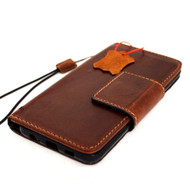 Genuine vintage leather case for Samsung Galaxy Note 8 book wallet magnetic closure cover luxury cards slots classic lite brown Daviscase