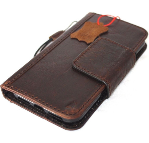 genuine leather Case for apple iphone x wallet handmade Rustic cover magnetic