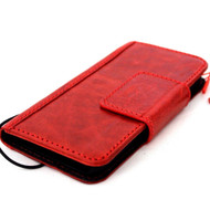 genuine leather Case for apple iphone wallet handmade Rustic cover magnetic 10 Red 7