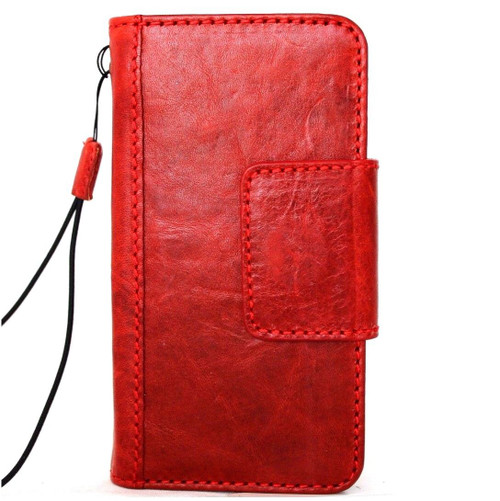 genuine leather Case for apple iphone wallet handmade Rustic cover magnetic 10 Red